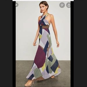 BCBGMAXAZRIA Color Block Pleated maxi dress💙